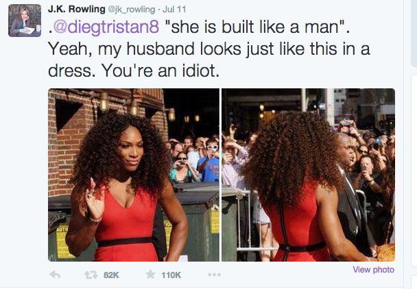 Serena Williams JK Rowling tweet