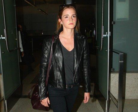 Emma Watson in leather jacket