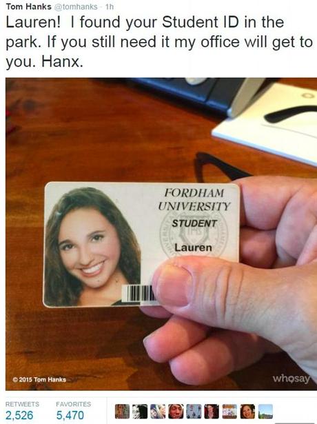 Tom Hanks Student ID - Stars With Big Hearts