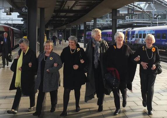 Calendar Girls at Leeds train station The Girls