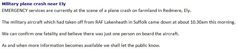 Crash police statement
