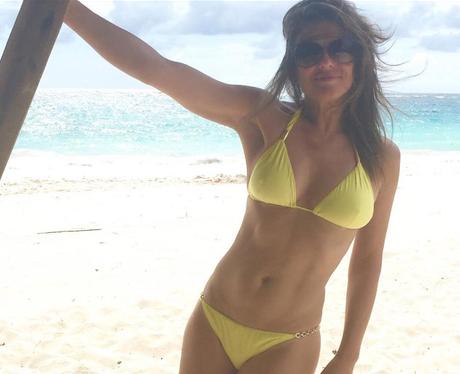 Liz hurley yellow bikini holiday instagram