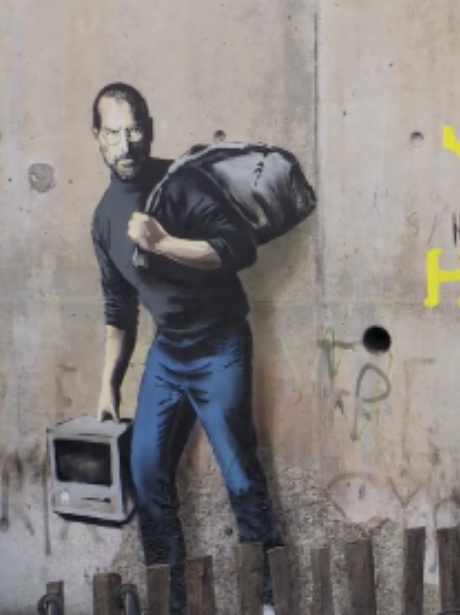 Banksy Steve Jobs artwork Jungle refugee camp Cala