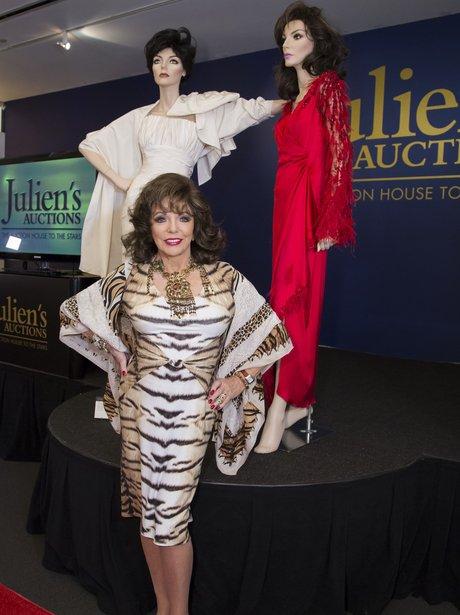 Joan Collins in animal print dress
