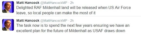 Matt Hancock RAF Base Tweet