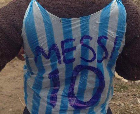 messi little boy plastic bag shirt