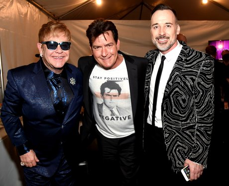 Sir Elton John, Charlie Sheen and David Furnish Aids Foundation party 2016