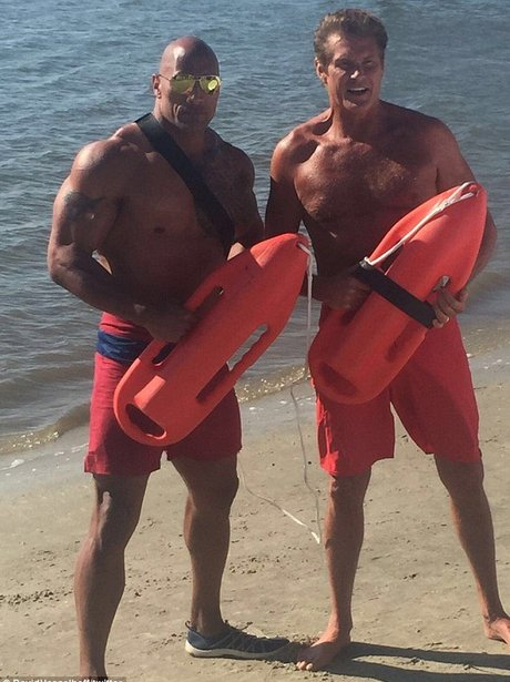 David Hasselhoff and The Rock Baywatch