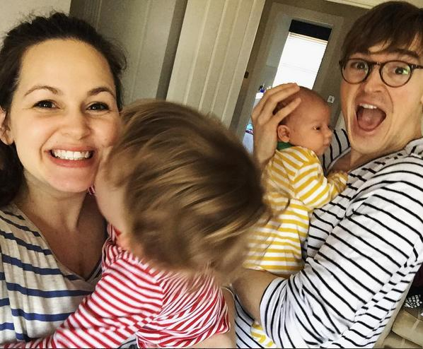 Tom and Giovanna Fletcher with Buzz and Buddy