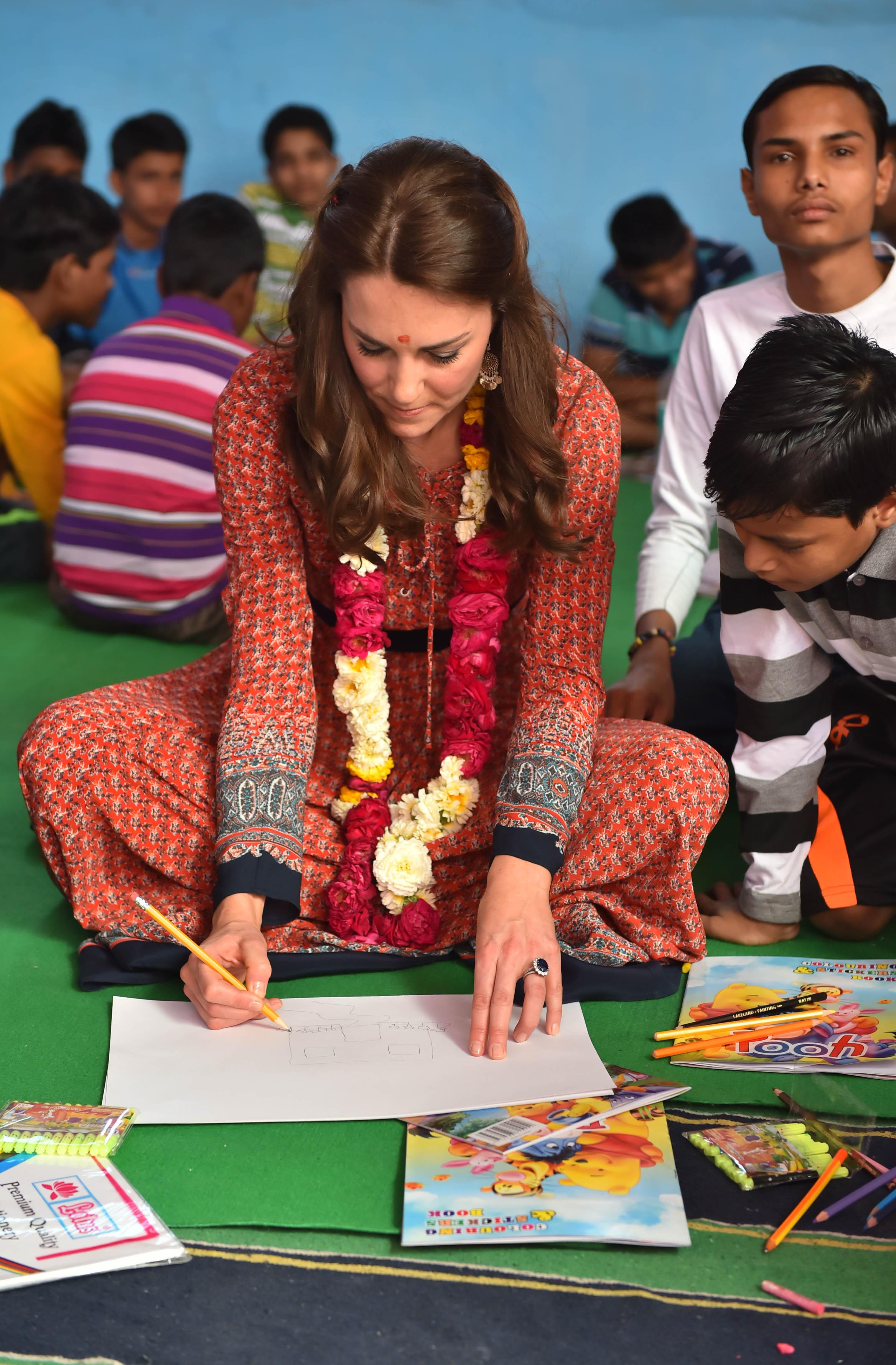 Duchess Of Cambridge attends an art class in India