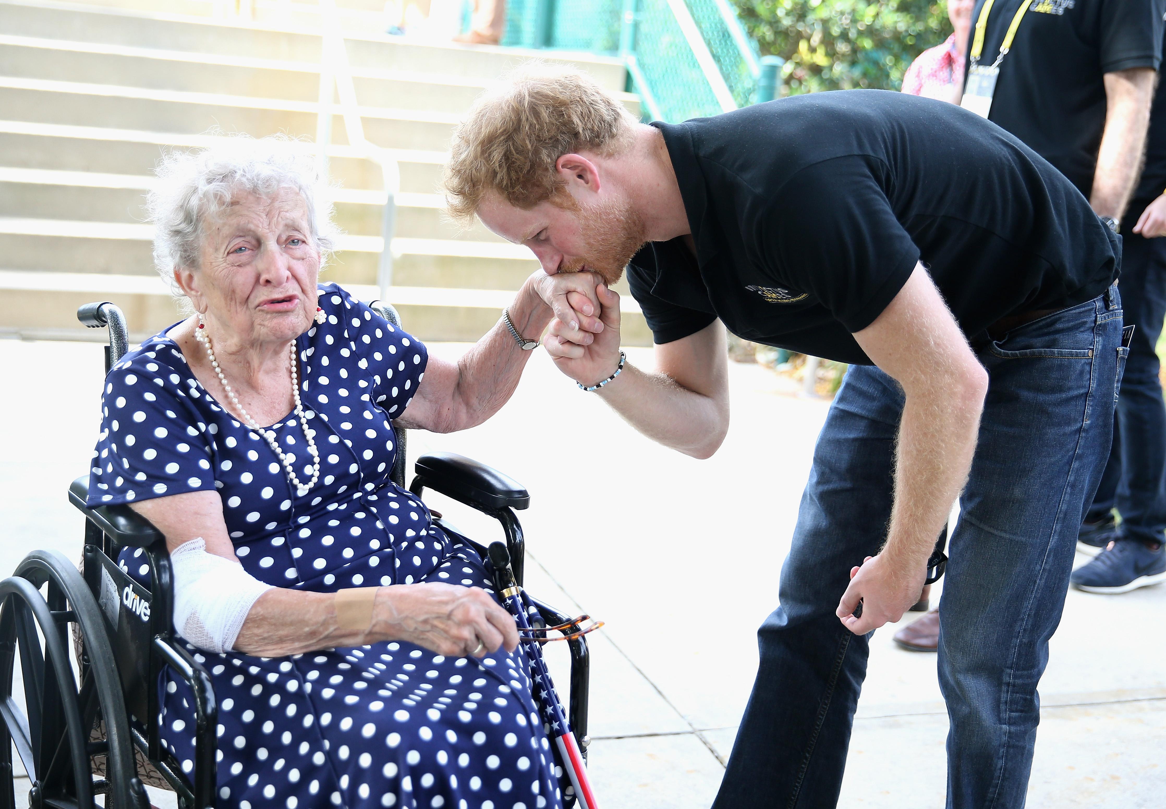 Prince Harry spectator at wheelchair tennis