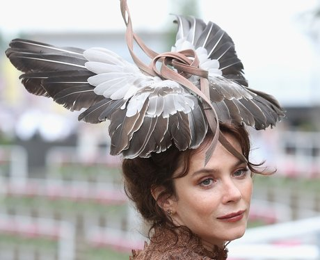 Anna Friel bird hat at Royal Ascot