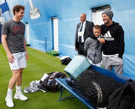 David Beckham, Romeo Beckham and Andy Murray