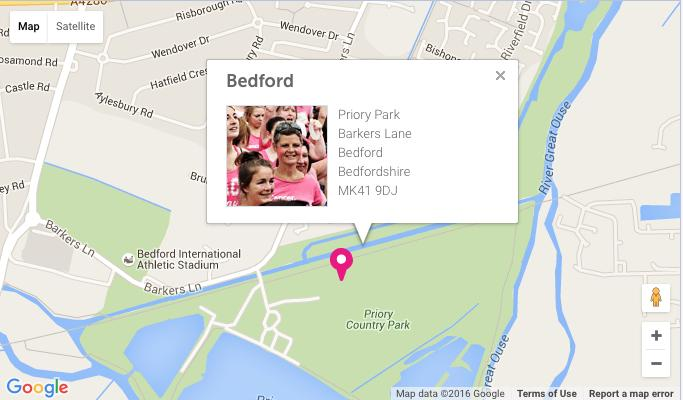 Bedford Race For Life Map