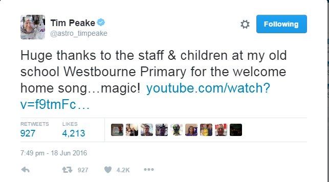 tim peake welcome home song tweet