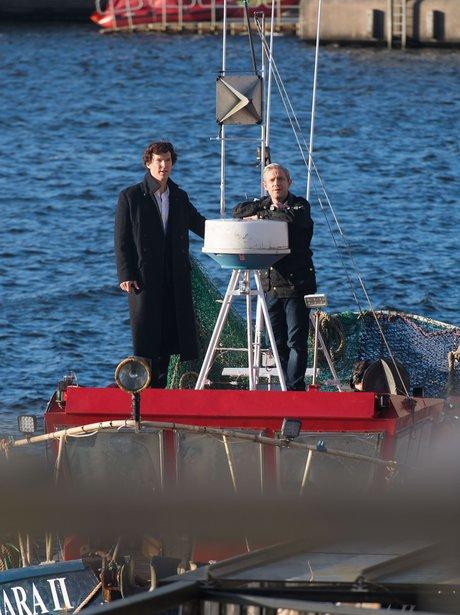 Benedict Cumberbatch and Martin Freeman filming Sh