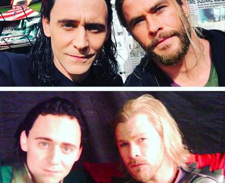 tom hiddleston and chris hemsworth recreate photo