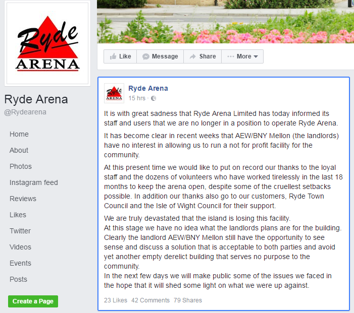 ryde ice rink statement