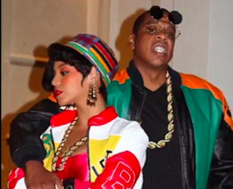 Beyonce, Jay Z, wear 80s, outfits.