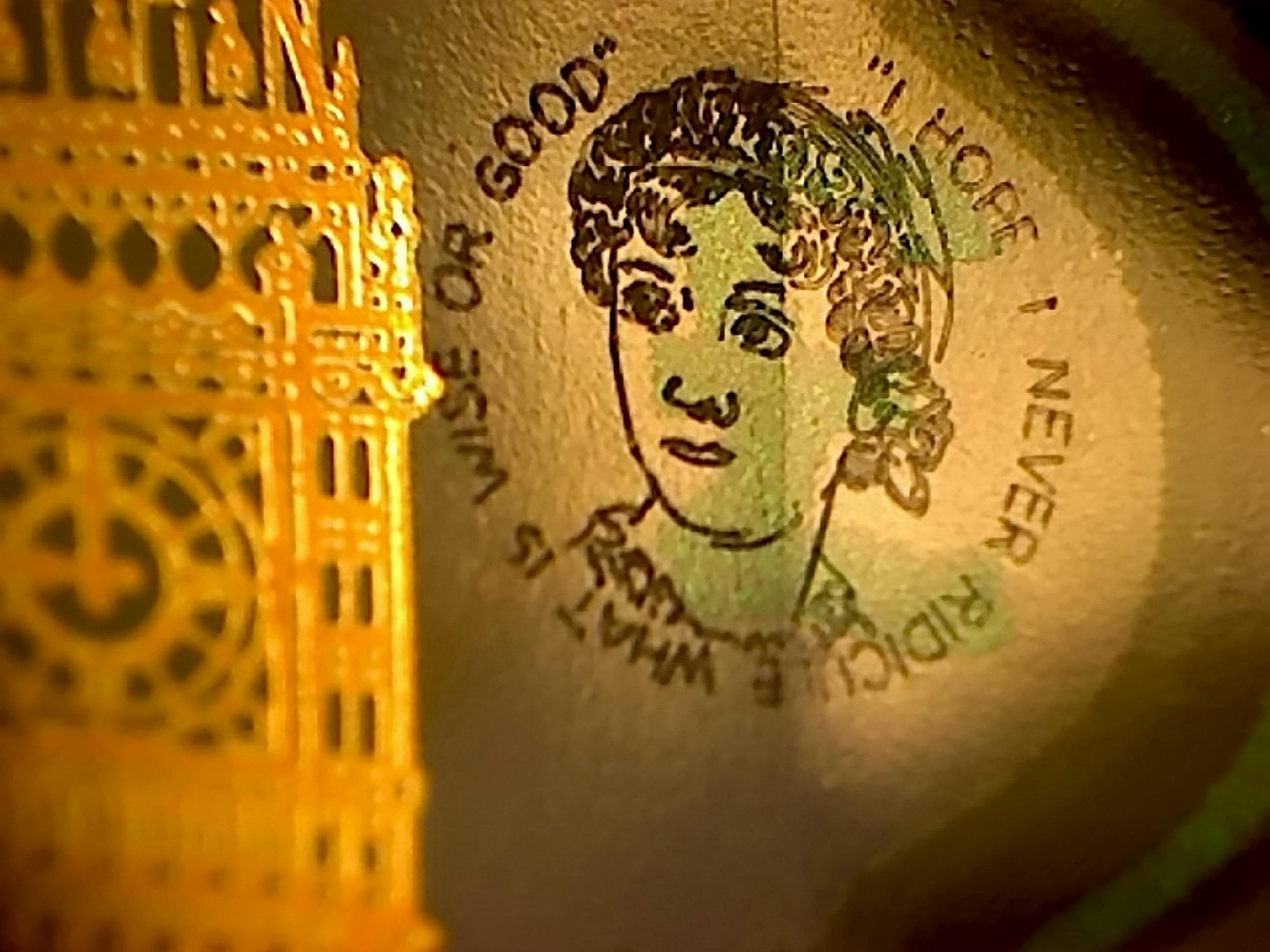 The Jane Austen portrait printed on new five pound
