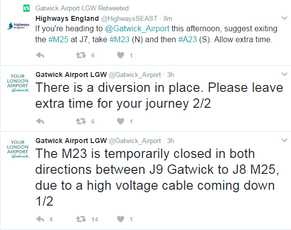 M23 gatwick tweet closure