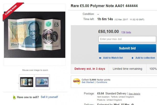 eBay Seller Makes Over £60,000 With RARE £5 Note