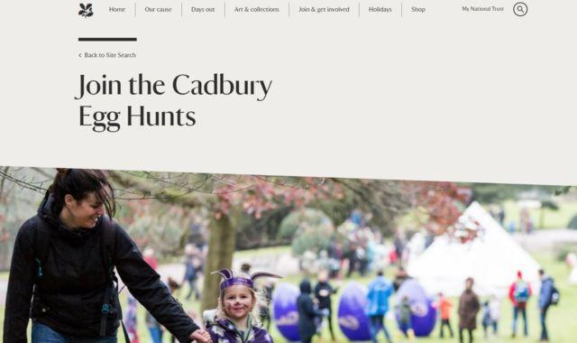 Cadbury National Trust Website Egg Hunt