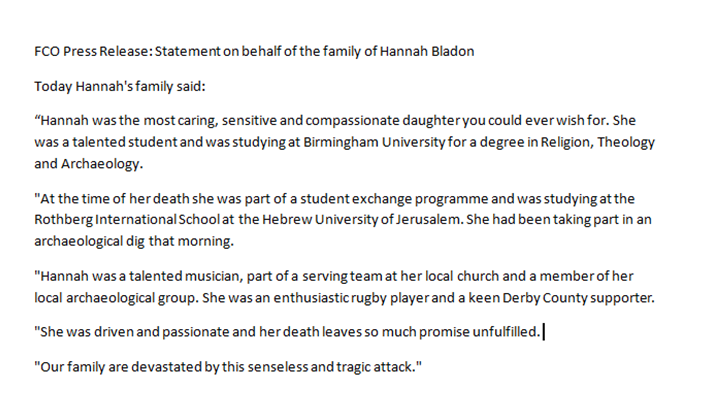 Hannah Bladon FCO statement