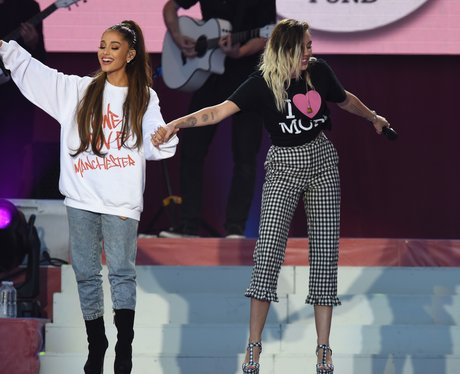 Ariana Grande with Miley Cyrus live during One Lov