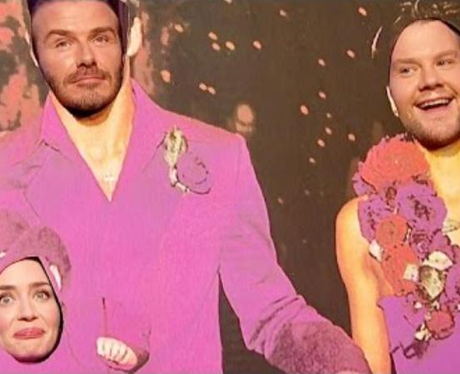 James Corden & Emily Blunt Help David Beckham Re-E