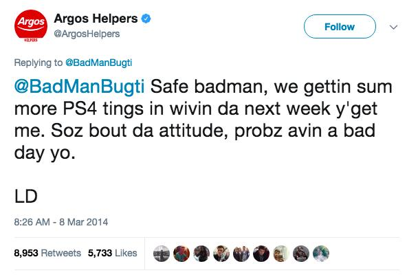 Argos attitude customer service