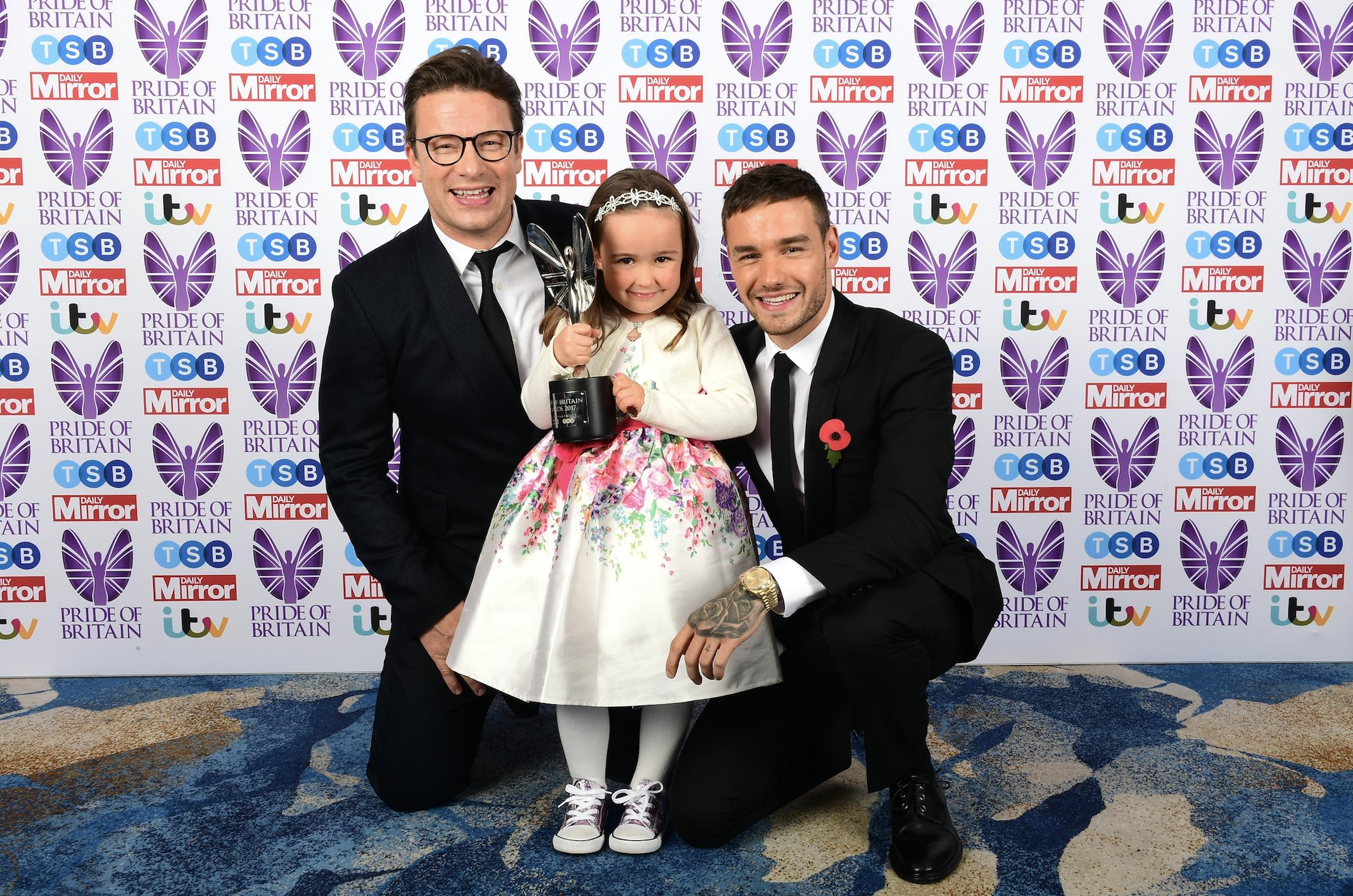 Jamie Oliver and Liam Payne with Suzie McCash