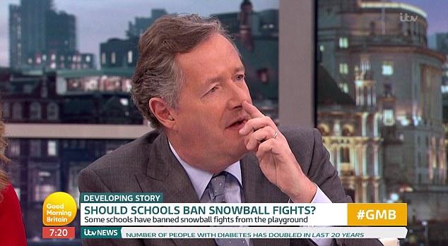 Piers Morgan slams headteacher who banned snowball