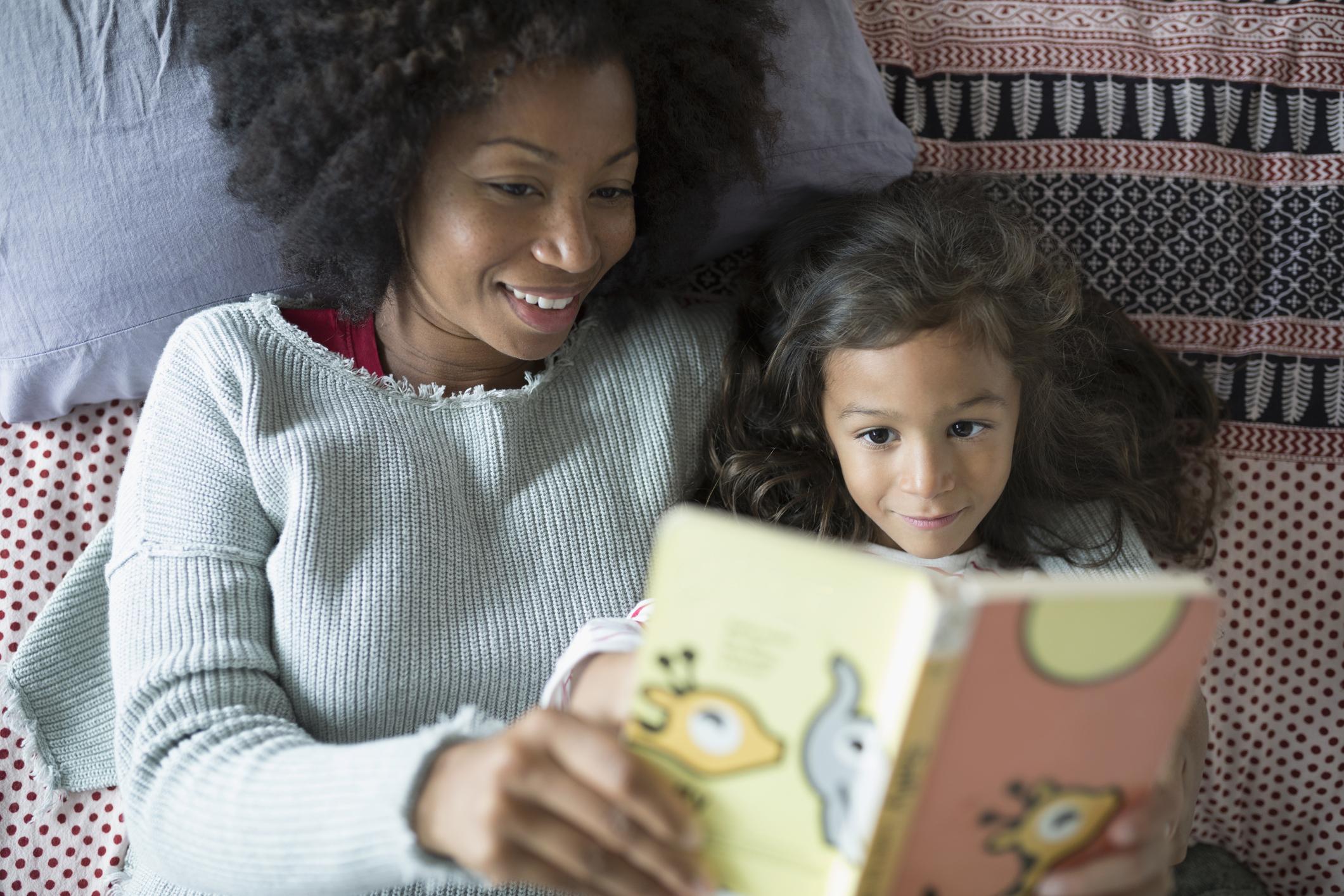Mum reading to child