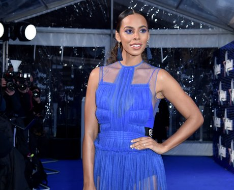 Rochelle Humes Global Awards 2018 blue carpet