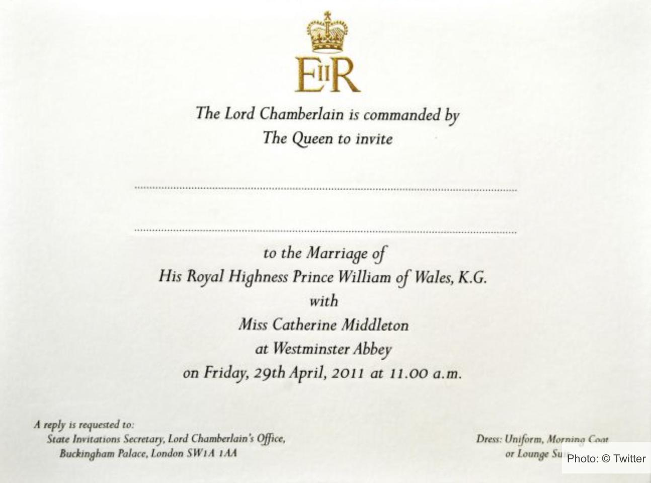 Kate Middleton and Prince William Invite
