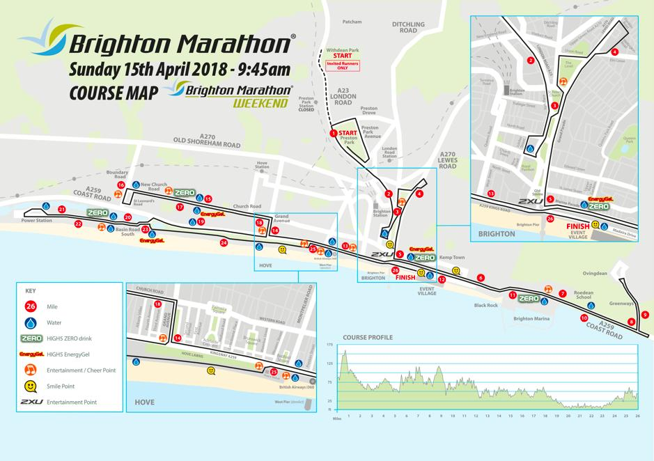 Map of Brighton Marathon 2018 route