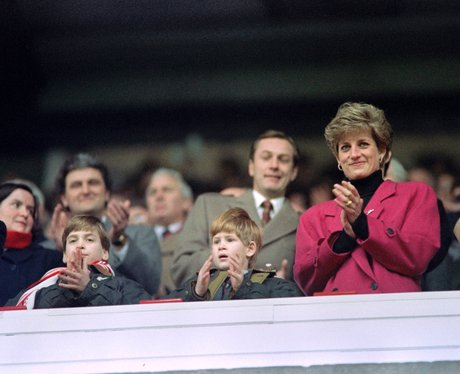 Princes Harry and William with Princess Diana
