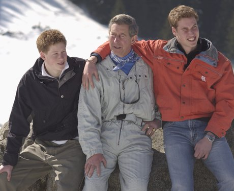 Princes William, Harry and Charles on a ski trip
