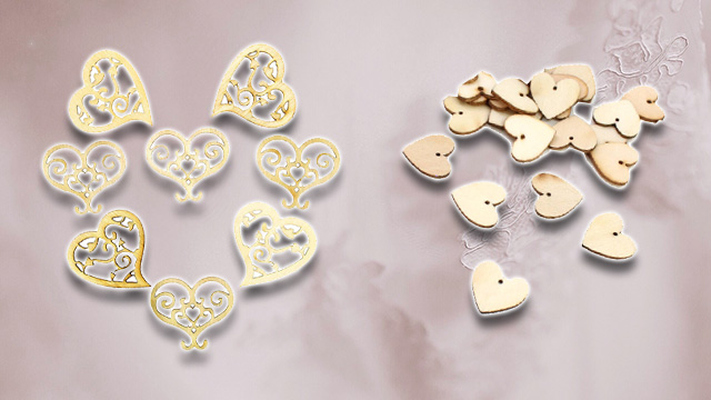Wooden hearts wedding