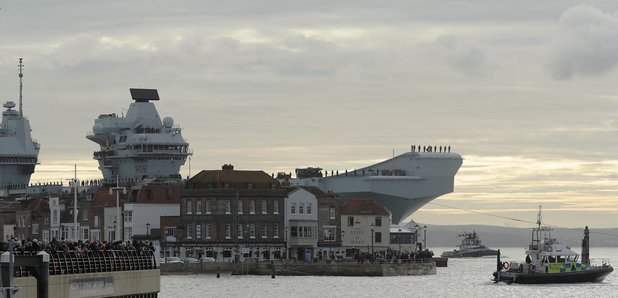 HMS Queen Elizabeth Home In Portsmouth For Christmas