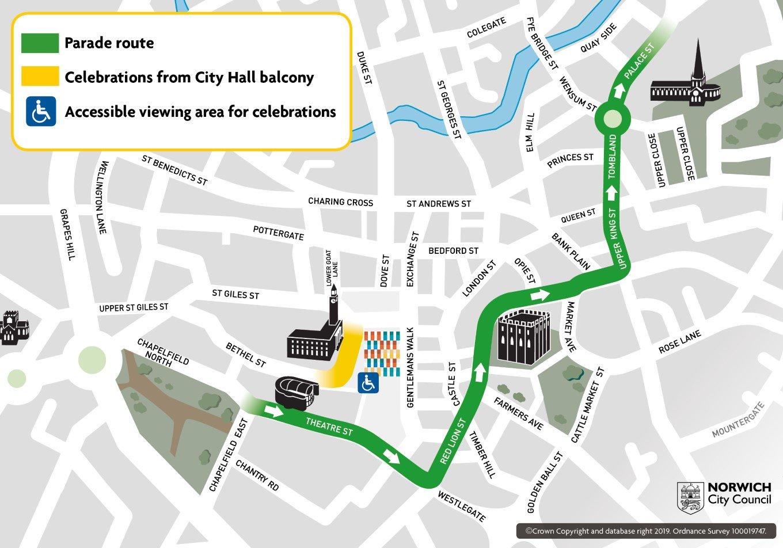 Norwich City parade map