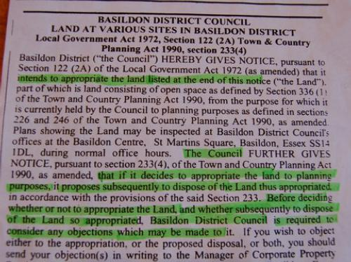 Basildon Council notice in the Yellow Advertiser