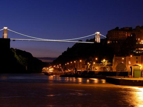 Clifton Suspension Bridge illuminated at night