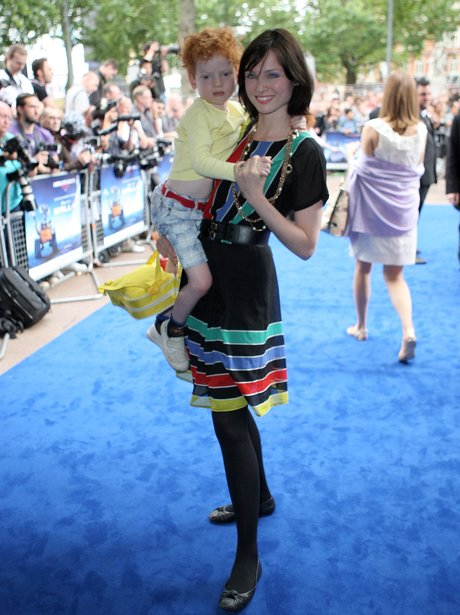 Sophie Ellis-Bextor in a black dress with her children Blue and Red