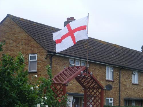 Flag outside Bedford house