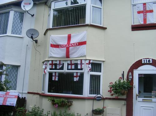 England flags on Bedford house