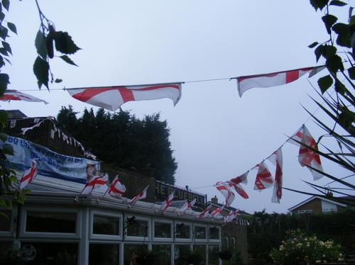 England flags outside Bedford pub